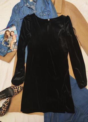 Чёрное велюровое платье прямое с длинным рукавом дороти перкинс2 фото