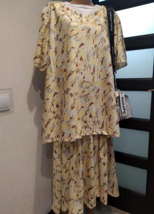 Тонкий лёгкий светлый костюм платье юбка блузка рубашка