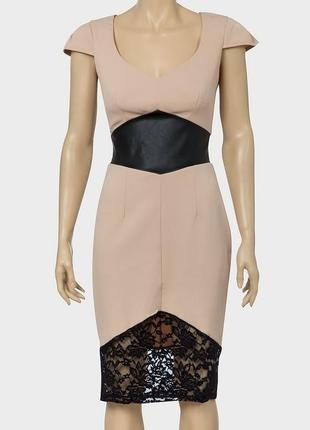 Another label платье миди вечернее бежевое с чёрным гипюром пояс из экокожи