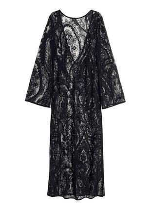 Шикарное черное гипюровое платье фирмы h&m