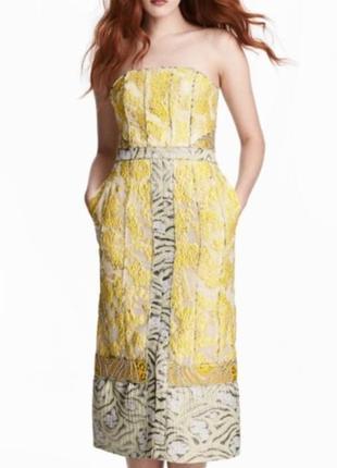 Шикарное жаккардовое вечернее платье миди h&m conscious exclusive.
