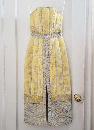 Шикарное жаккардовое вечернее платье миди h&m conscious exclusive.8 фото