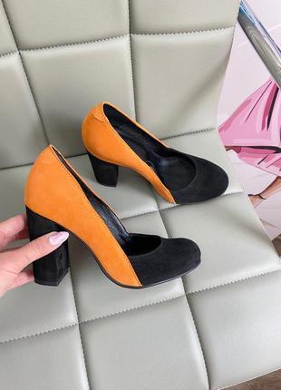 Туфли замшевые на устойчтвом каблуке