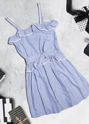 Хлопковое платье с оборками и поясом boutique by jaeger2 фото