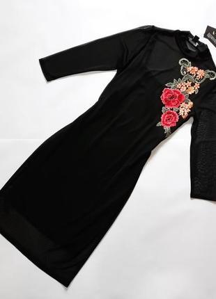 Новое черное  платье с вышивкой atmosphere