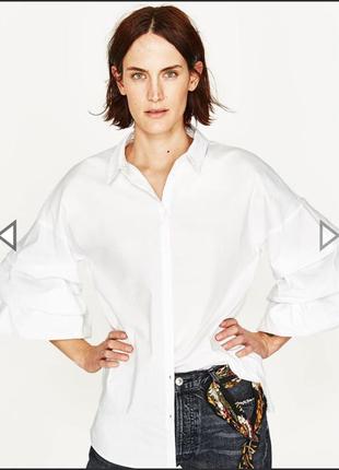 Белая рубашка с объёмным рукавом размер 12 zara