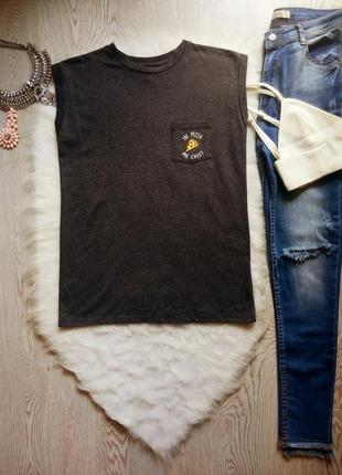 Серая черная меланж футболка майка с модным принтом еды на кармане хлопок стрейч