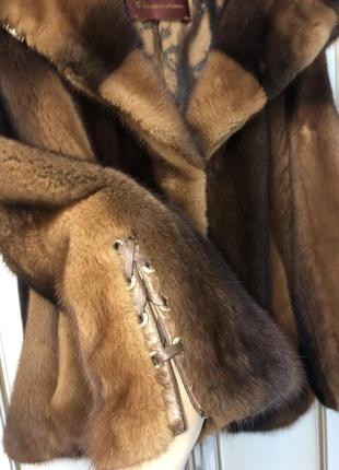 Итальянская норковая шуба шубка с норки автоледи с огромным капюшоном 46-502 фото