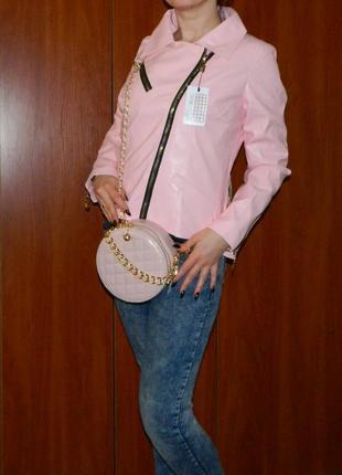 Сумка женская розовая пудра круглая crossbody с с цепью