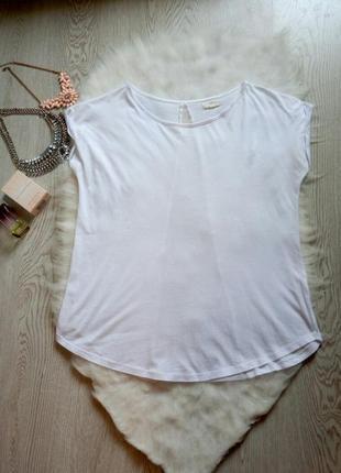 Белая футболка со вставкой сетка открытая спина на спине шифон оверсайз однотонная