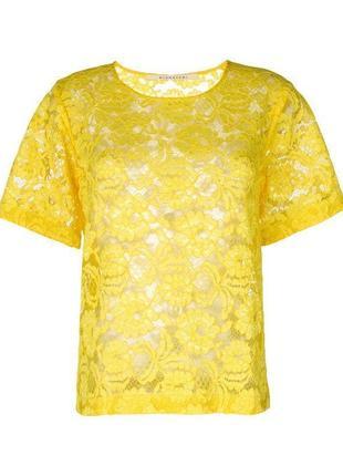 Желтый ажурный кроп топ блуза короткая футболка гипюр цветная с рукавами вышивкой оверсайз1 фото