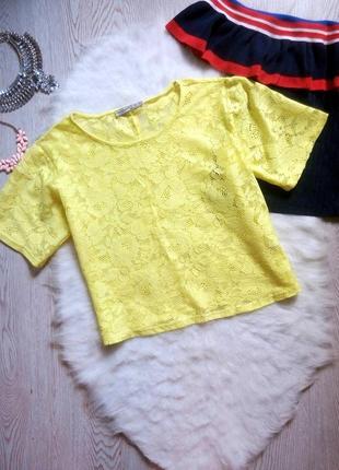 Желтый ажурный кроп топ блуза короткая футболка гипюр цветная с рукавами вышивкой оверсайз2 фото