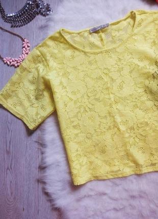 Желтый ажурный кроп топ блуза короткая футболка гипюр цветная с рукавами вышивкой оверсайз3 фото