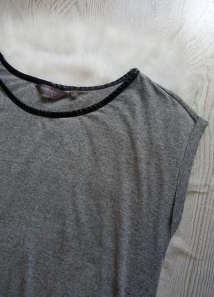 Серая меланж футболка туника черный кожзам воротник батал большой размер плюс сайз2 фото