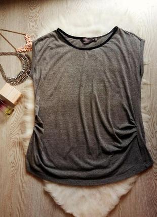 Серая меланж футболка туника черный кожзам воротник батал большой размер плюс сайз