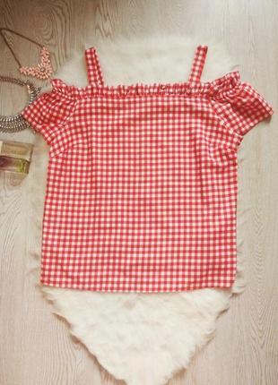 Красная в белую клетку футболка майка открытыми плечами рюшами батал большой размер пин