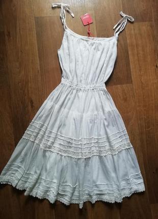 Esprit котоновый сарафан с кружевом на брителях, плаття, платье, сукня