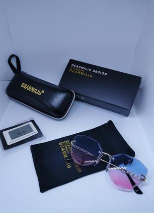 Очки солнцезащитные без оправы градиент голубо-розовый с футляром