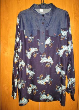 Стильная блуза-рубашка большого размера, uk 18, наш 52-54 размер3 фото