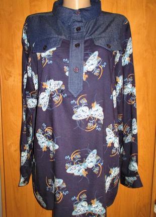 Стильная блуза-рубашка большого размера, uk 18, наш 52-54 размер1 фото