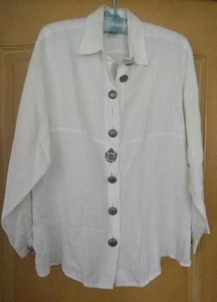 Рубашка белая льняная, в этно  бохо стиль австрия р 38 l