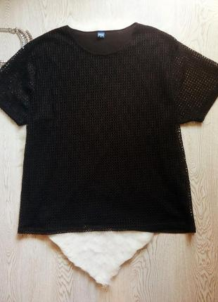 Черная футболка длинная туника с сеткой стрейч батал большой размер плюс сайз нарядная