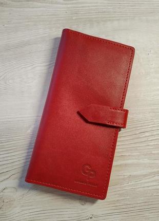Женский кожаный кошелек на кнопке, grande pelle