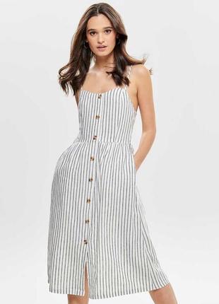Льняное платье сарафан в полоску only