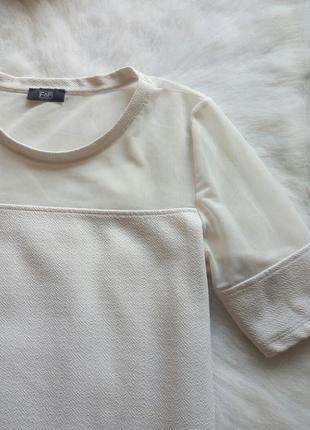 Белая блуза футболка с сеткой на по верху рукавах стрейч открытые плечи2 фото
