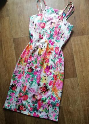 Актуальный сарафан на брителях в цветочный принт, сукня, плаття, платье