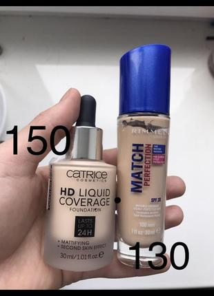 Catrice hd liquid coverage 002, rimmel match perfection 100 {ivory}