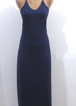 Длинный синий сарафан на бретелях сарафан майка от tcm размер: 42-44-s