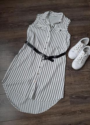 Стильное платье-рубашка в полоску