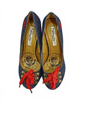 Женские  джинсовые туфли на шпильке ed hardy. код п2398