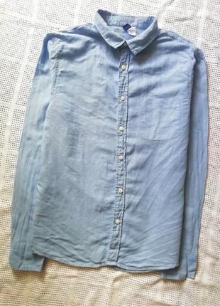 H&m льяная, котоновая рубашка с карманом, сорочка, блузка бойфренд, оверсайз