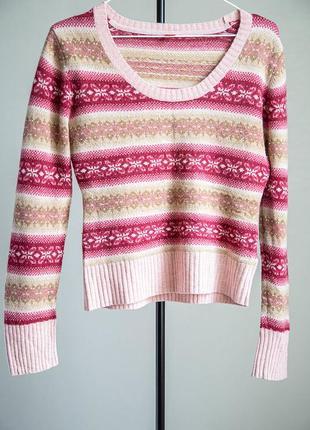 Шерстяной укороченный свитер esprit с красивым орнаментом