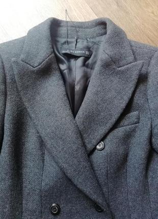 Zara трендовое шерстяное пальто3 фото