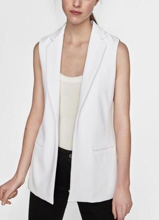 Жакет пиджак без рукавов белый1 фото