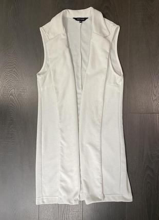 Жакет пиджак без рукавов белый2 фото