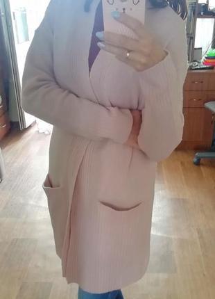 Стильный кашемировый кардиган, кофта, накидка, пудрового цвета, пиджак, жакет, блейзер