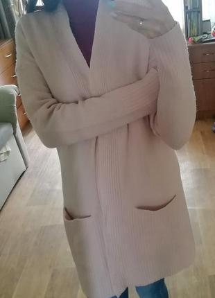 Стильный кашемировый кардиган, кофта, накидка, пудрового цвета, пиджак, жакет, блейзер2 фото