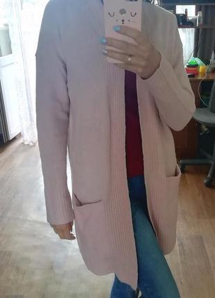 Стильный кашемировый кардиган, кофта, накидка, пудрового цвета, пиджак, жакет, блейзер3 фото