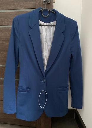 Пиджак жакет синий бойфренд3 фото