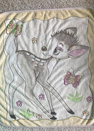 Плед одеялко для малыша с оленёнком1 фото