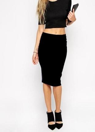 Прямая трикотажная чёрная юбка в рубчик / юбочка в обтяжку