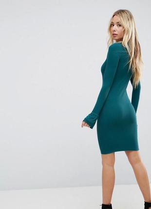 Платье миди в рубчик с рюшей на рукавах asos2 фото