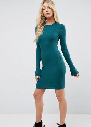Платье миди в рубчик с рюшей на рукавах asos3 фото