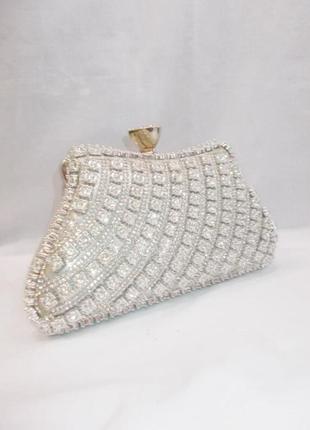 Вечіній белый вечерний свадебный весільний клатч сумка невесты нераченої