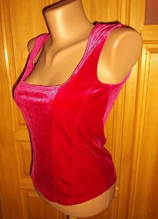 Супер маечка блуза велюр  с переливам  красная стречь р. !0  - s- dorothy perkins