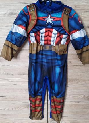 Детский светящийся карнавальный костюм капитан америка,marvel,марвел на 3 года